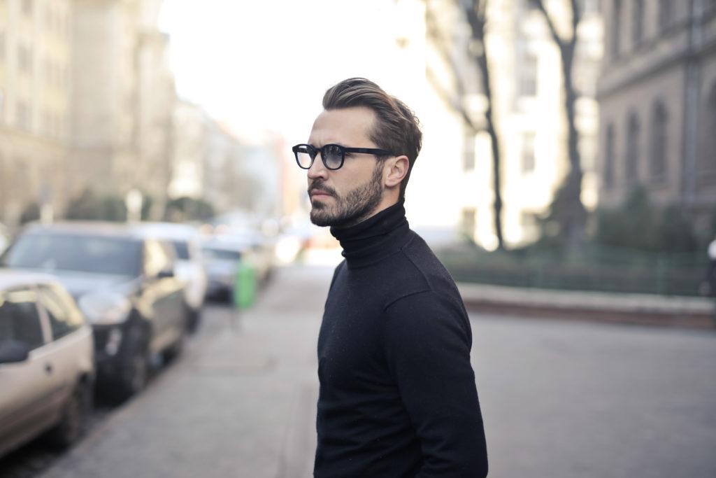 A man on a sidewalk