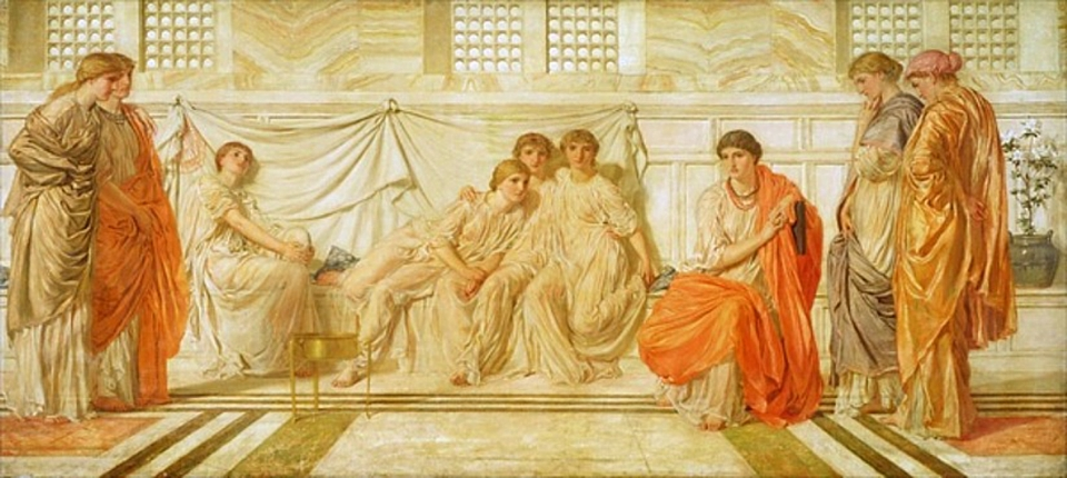 The Sunamite relating the glories of King Solomon to her Maidens by Albert Joseph Moore