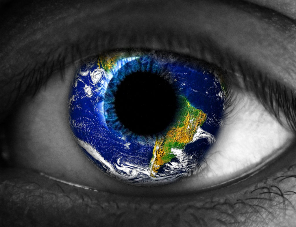 Eyeball with the world reflected