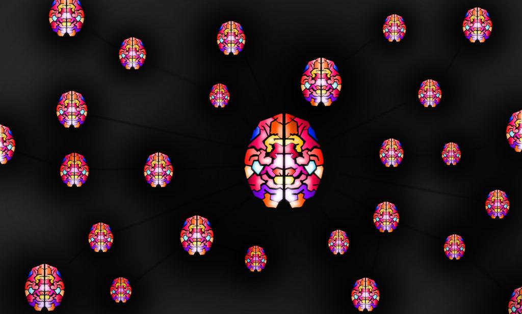 Brains on a black background