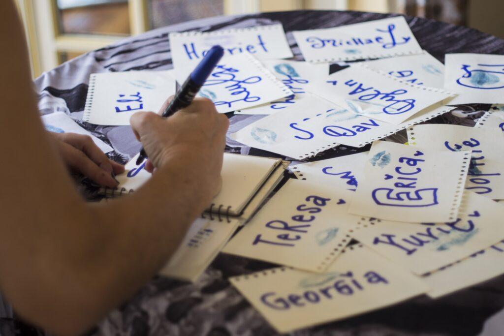 Woman writing names