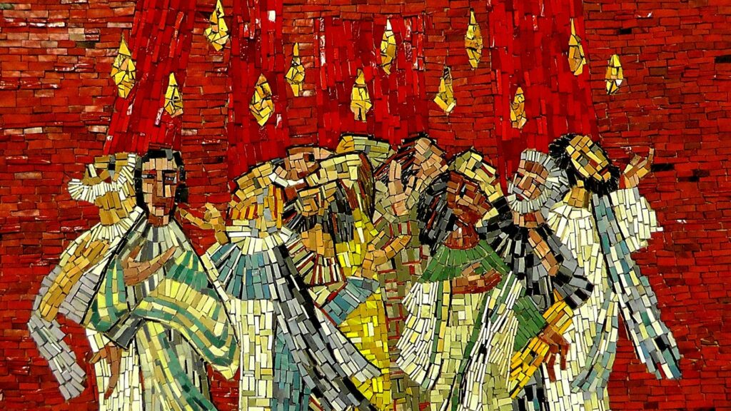 The coming of the Holy Spirit at Pentecost